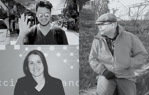 Tre sort hvitt bilder av ansatte i en collage. Fotografi